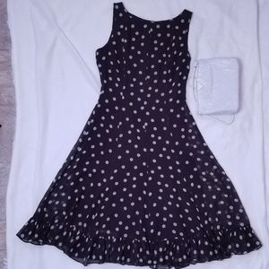 Adrianna Papell brown polka dot dress